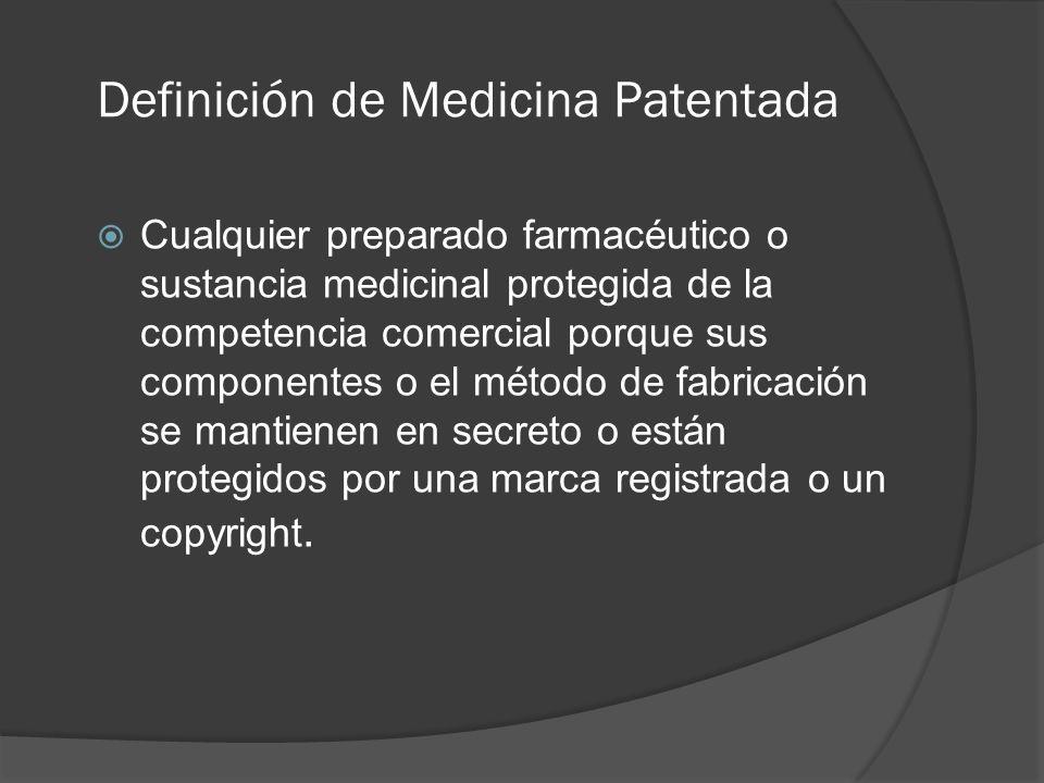 Definición de Medicina Patentada