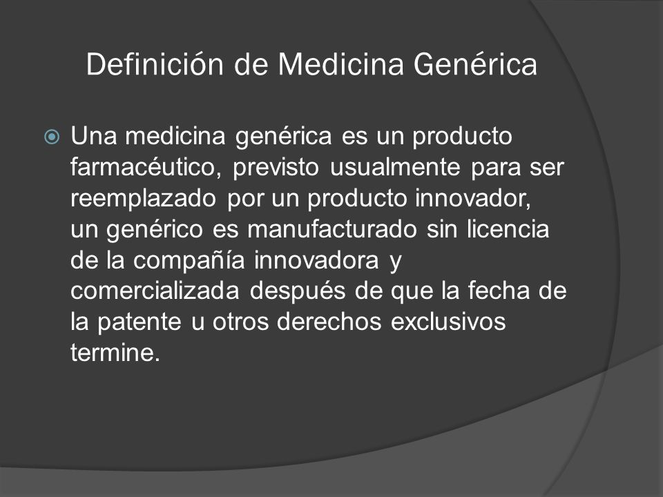 Definición de Medicina Genérica
