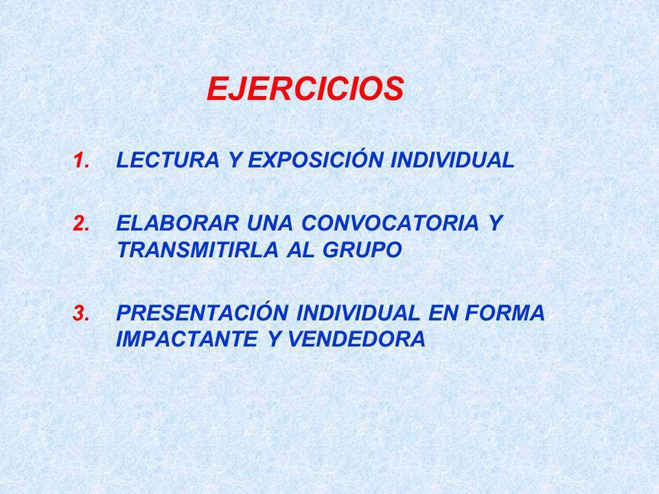 EJERCICIOS LECTURA Y EXPOSICIÓN INDIVIDUAL