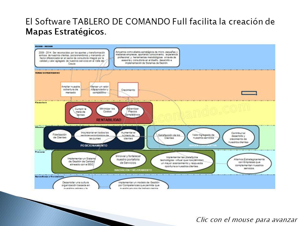 El Software TABLERO DE COMANDO Full facilita la creación de Mapas Estratégicos.