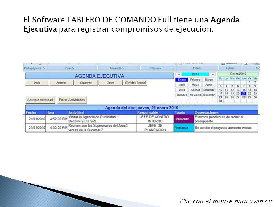 El Software TABLERO DE COMANDO Full tiene una Agenda Ejecutiva para registrar compromisos de ejecución.