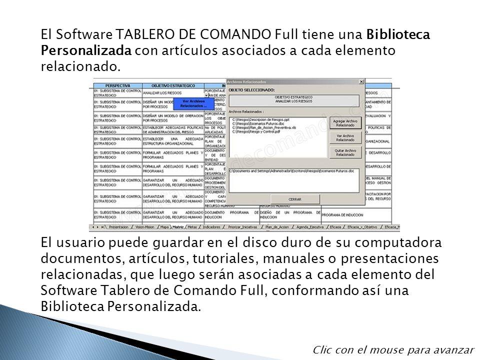 El Software TABLERO DE COMANDO Full tiene una Biblioteca Personalizada con artículos asociados a cada elemento relacionado.