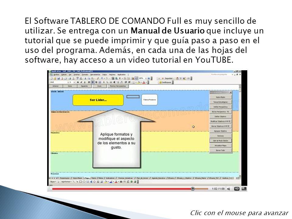 El Software TABLERO DE COMANDO Full es muy sencillo de utilizar