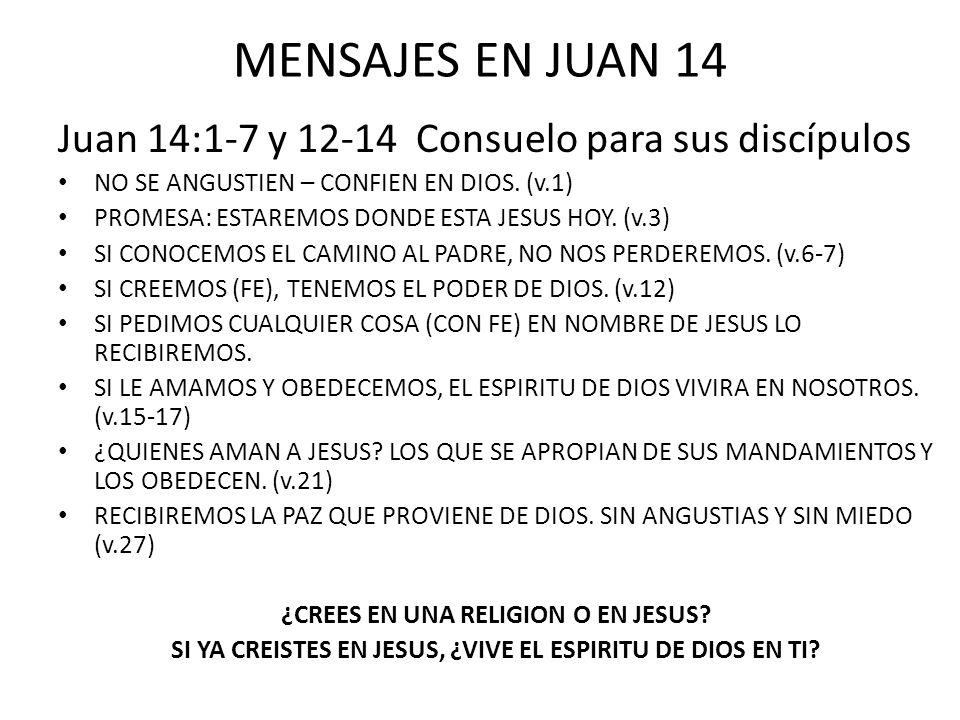 MENSAJES EN JUAN 14 Juan 14:1-7 y 12-14 Consuelo para sus discípulos