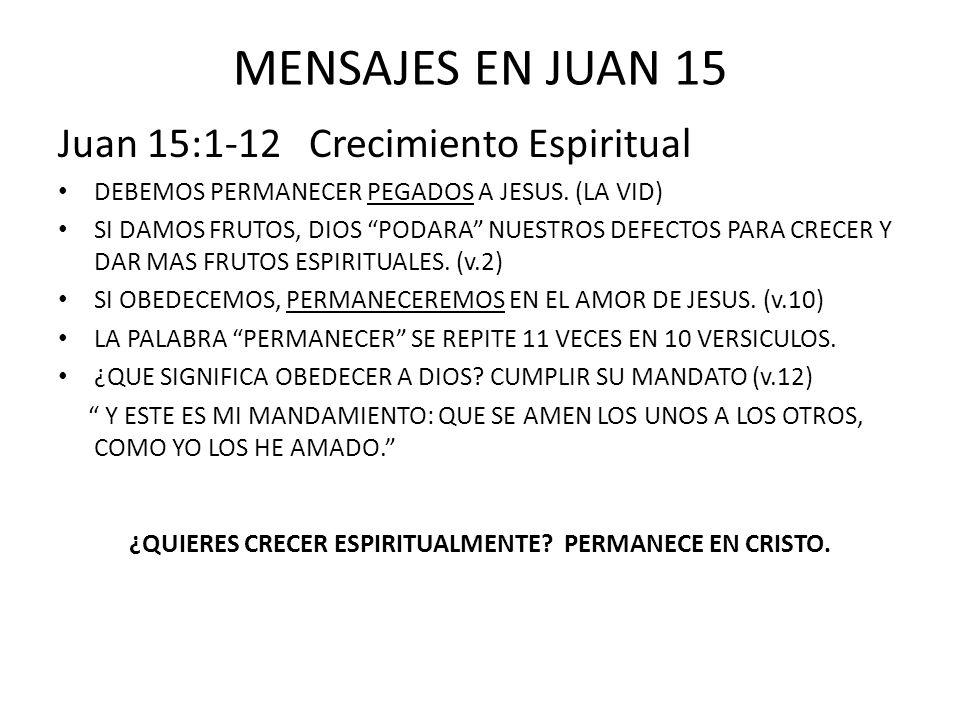 ¿QUIERES CRECER ESPIRITUALMENTE PERMANECE EN CRISTO.