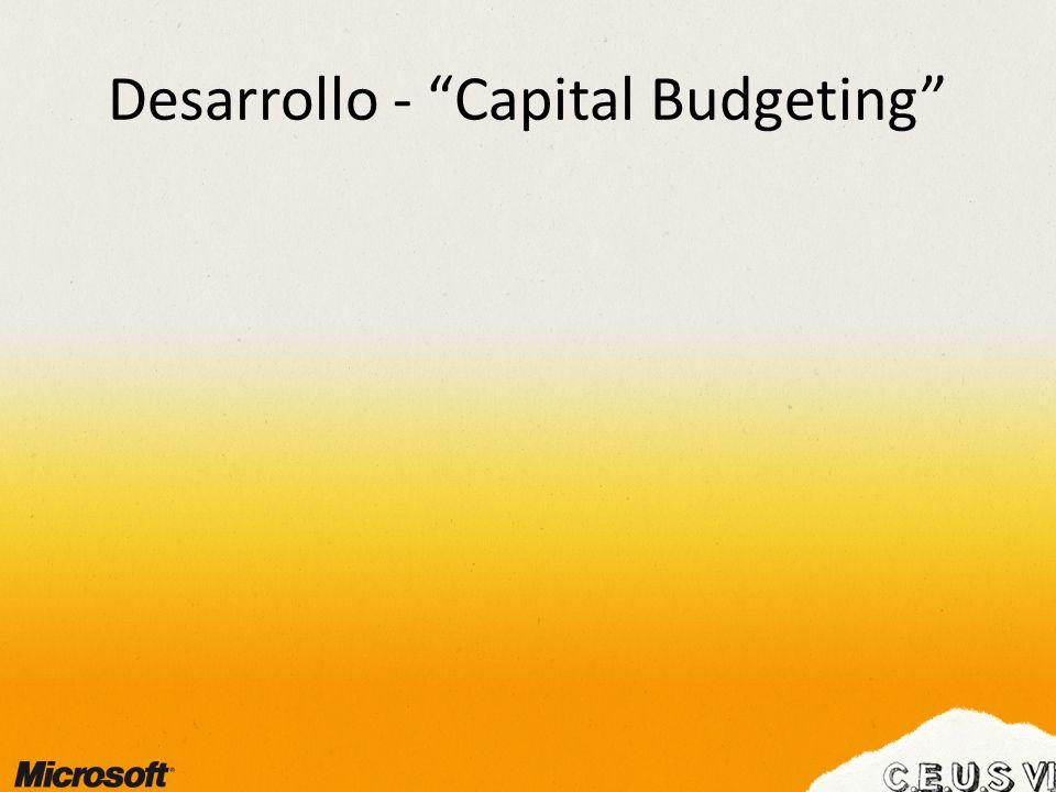 Desarrollo - Capital Budgeting