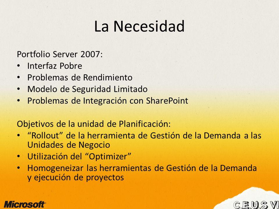 La Necesidad Portfolio Server 2007: Interfaz Pobre