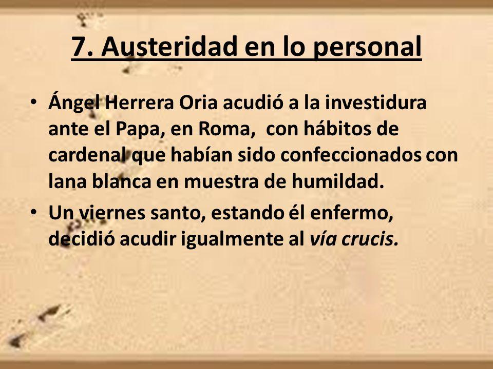 7. Austeridad en lo personal