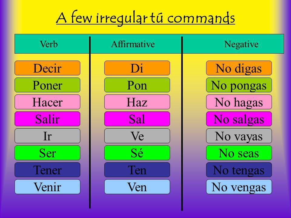 A few irregular tú commands