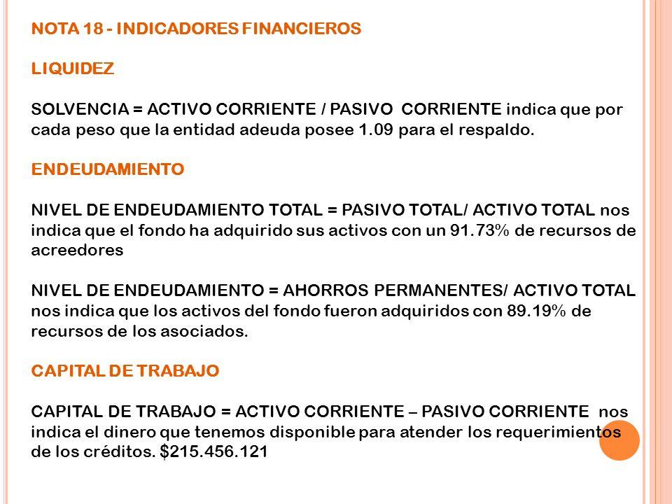 NOTA 18 - INDICADORES FINANCIEROS