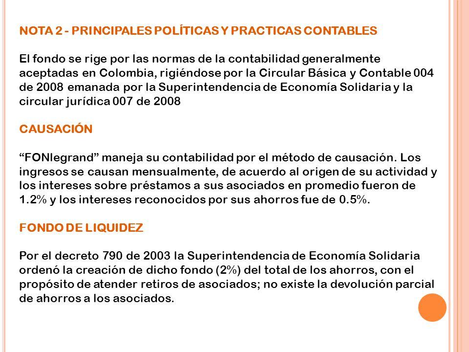 NOTA 2 - PRINCIPALES POLÍTICAS Y PRACTICAS CONTABLES