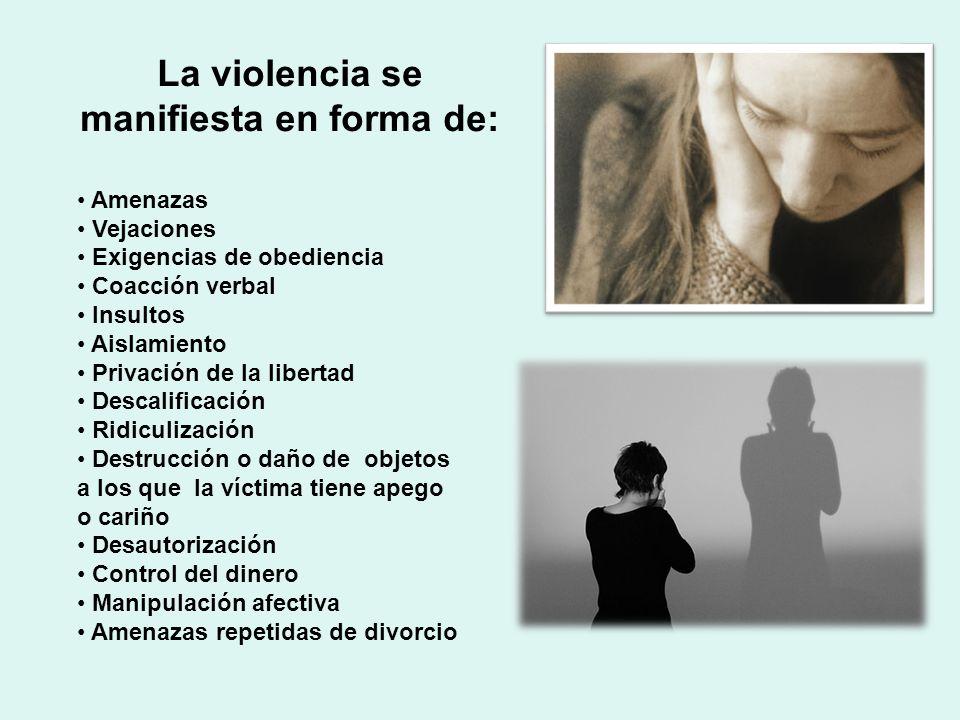 La violencia se manifiesta en forma de: