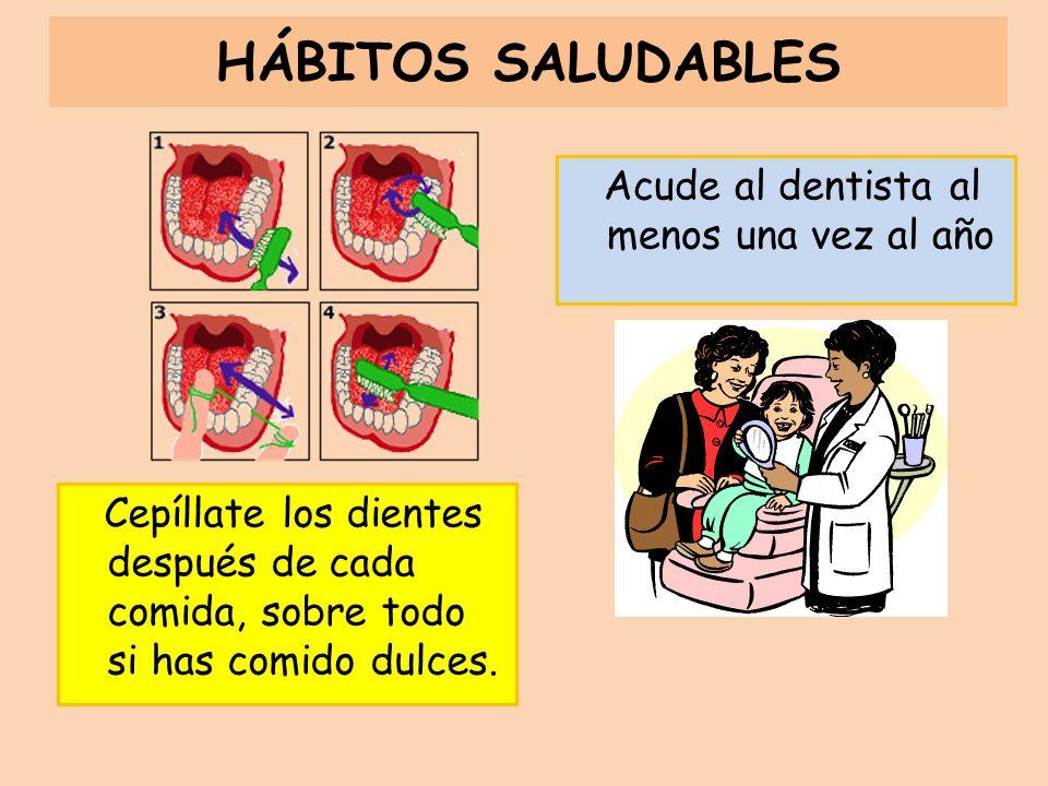 HÁBITOS SALUDABLES Acude al dentista al menos una vez al año