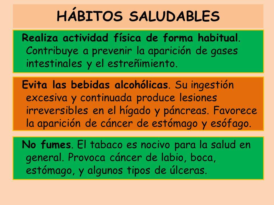 HÁBITOS SALUDABLES Realiza actividad física de forma habitual. Contribuye a prevenir la aparición de gases intestinales y el estreñimiento.
