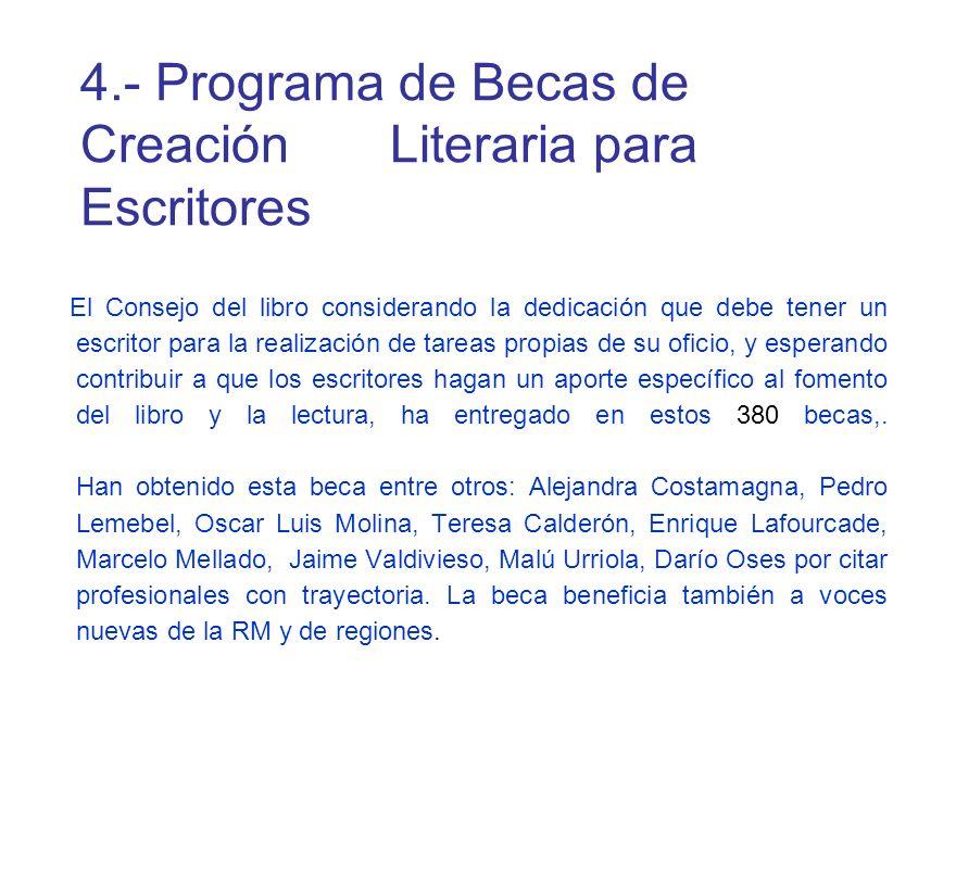 4.- Programa de Becas de Creación Literaria para Escritores