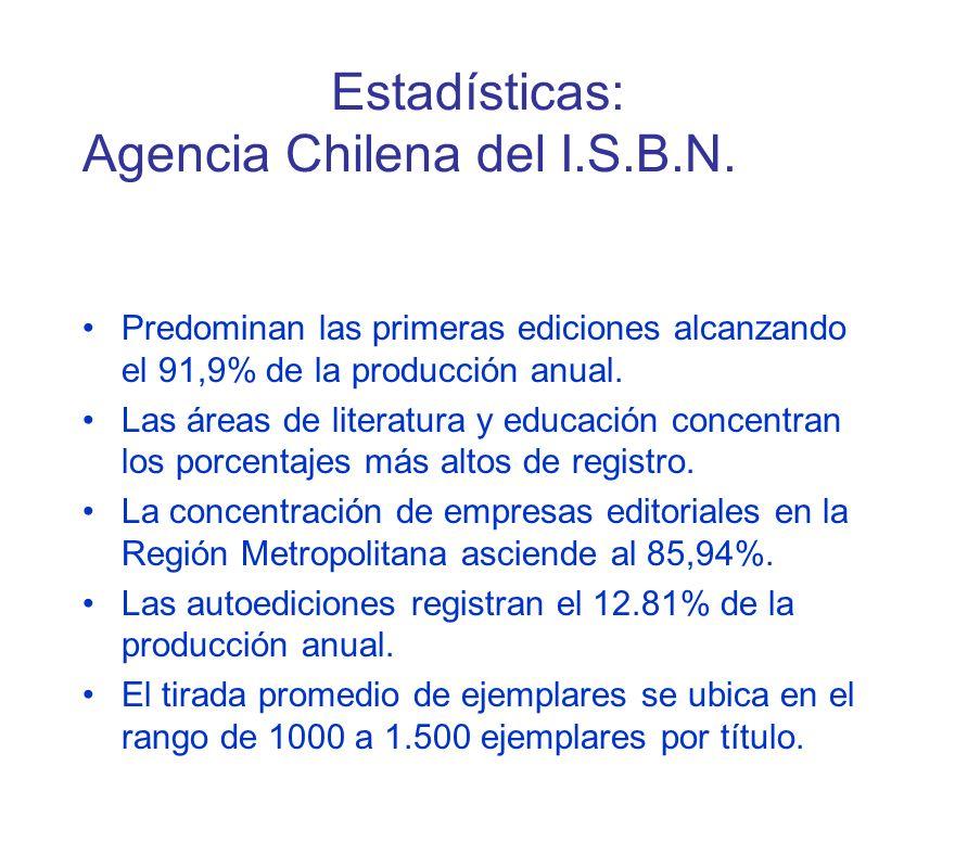 Estadísticas: Agencia Chilena del I.S.B.N.