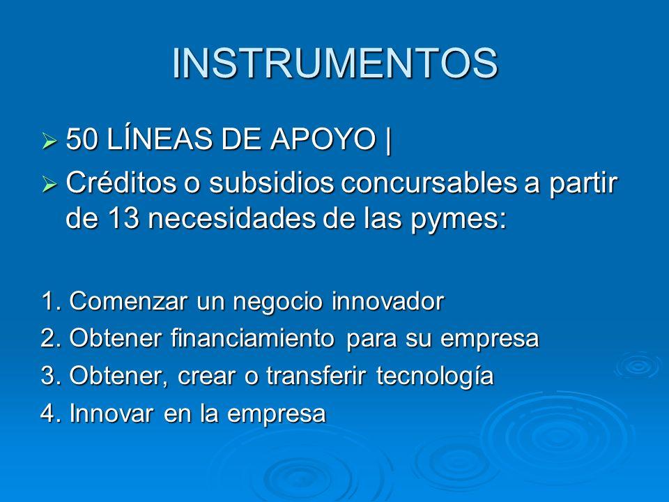 INSTRUMENTOS 50 LÍNEAS DE APOYO |