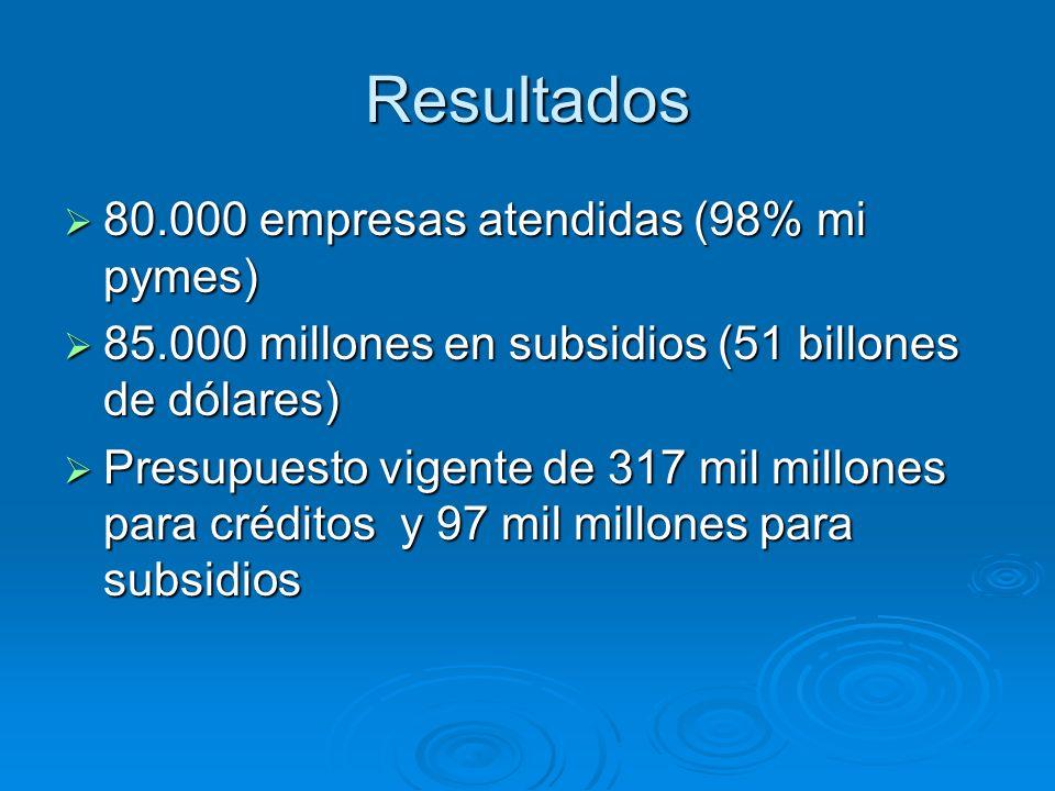 Resultados 80.000 empresas atendidas (98% mi pymes)