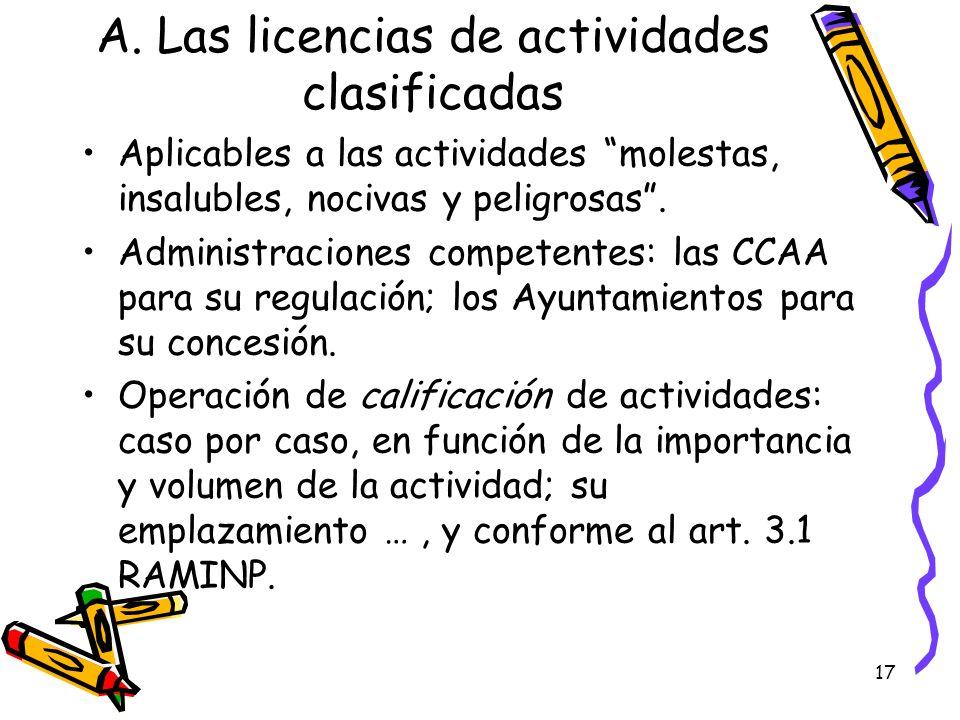 A. Las licencias de actividades clasificadas
