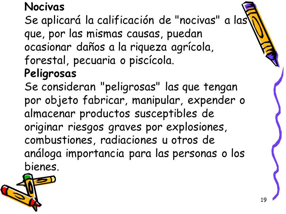 Nocivas Se aplicará la calificación de nocivas a las que, por las mismas causas, puedan ocasionar daños a la riqueza agrícola, forestal, pecuaria o piscícola.