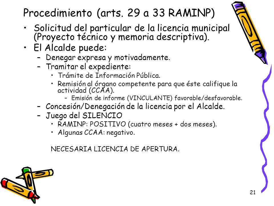 Procedimiento (arts. 29 a 33 RAMINP)