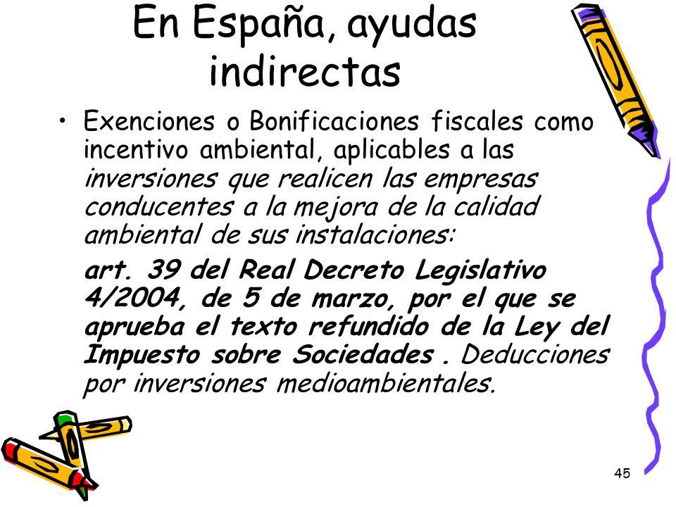 En España, ayudas indirectas