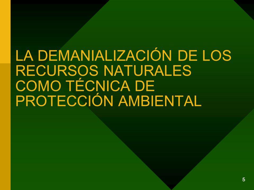 LA DEMANIALIZACIÓN DE LOS RECURSOS NATURALES COMO TÉCNICA DE PROTECCIÓN AMBIENTAL
