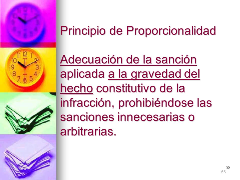 Principio de Proporcionalidad Adecuación de la sanción aplicada a la gravedad del hecho constitutivo de la infracción, prohibiéndose las sanciones innecesarias o arbitrarias.