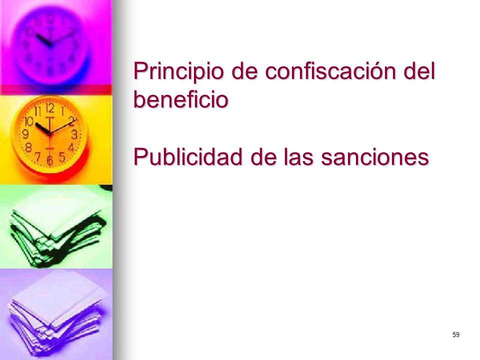 Principio de confiscación del beneficio Publicidad de las sanciones