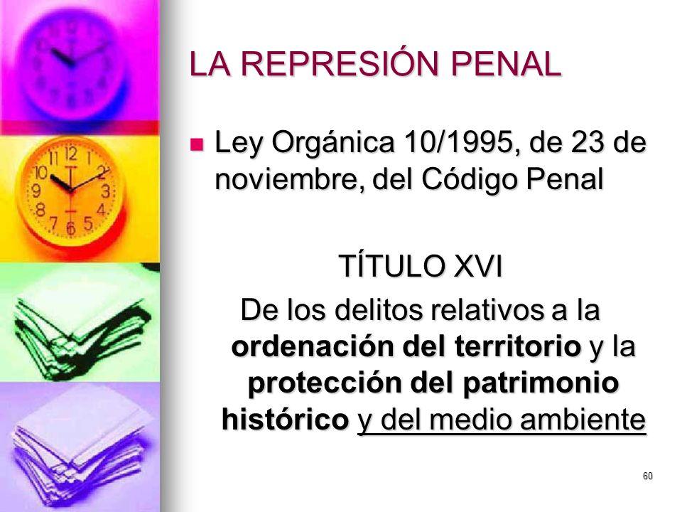 LA REPRESIÓN PENAL Ley Orgánica 10/1995, de 23 de noviembre, del Código Penal. TÍTULO XVI.