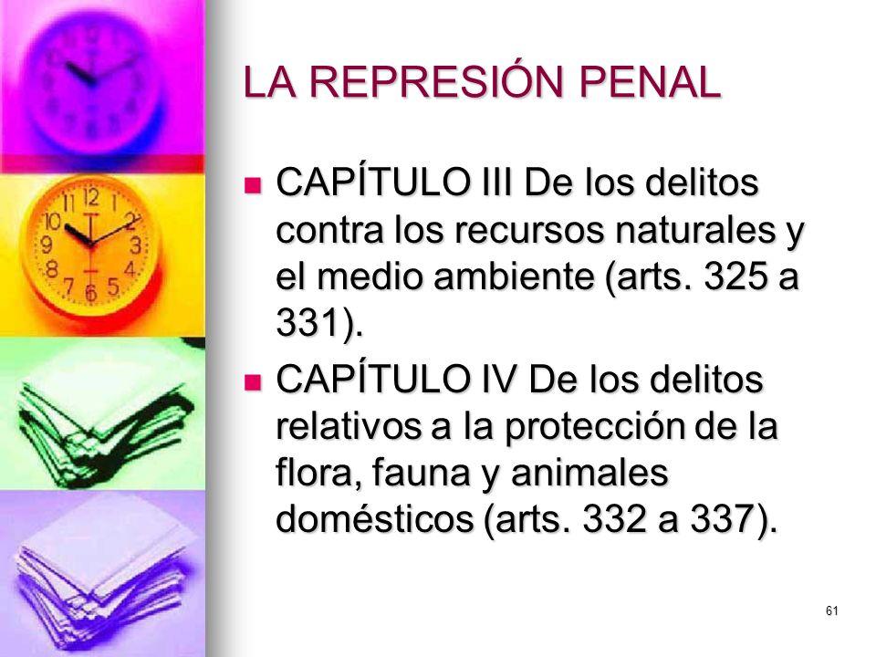 LA REPRESIÓN PENAL CAPÍTULO III De los delitos contra los recursos naturales y el medio ambiente (arts. 325 a 331).