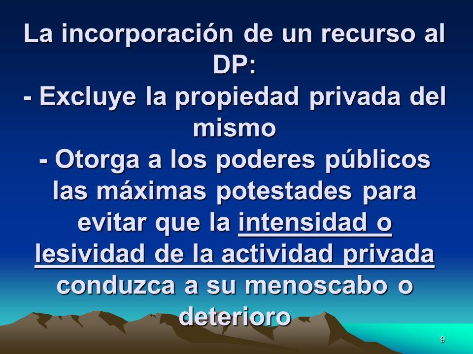 La incorporación de un recurso al DP: - Excluye la propiedad privada del mismo - Otorga a los poderes públicos las máximas potestades para evitar que la intensidad o lesividad de la actividad privada conduzca a su menoscabo o deterioro