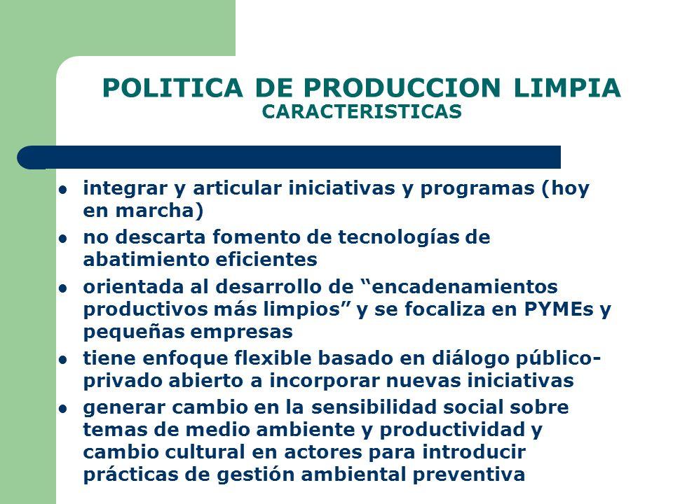 POLITICA DE PRODUCCION LIMPIA CARACTERISTICAS