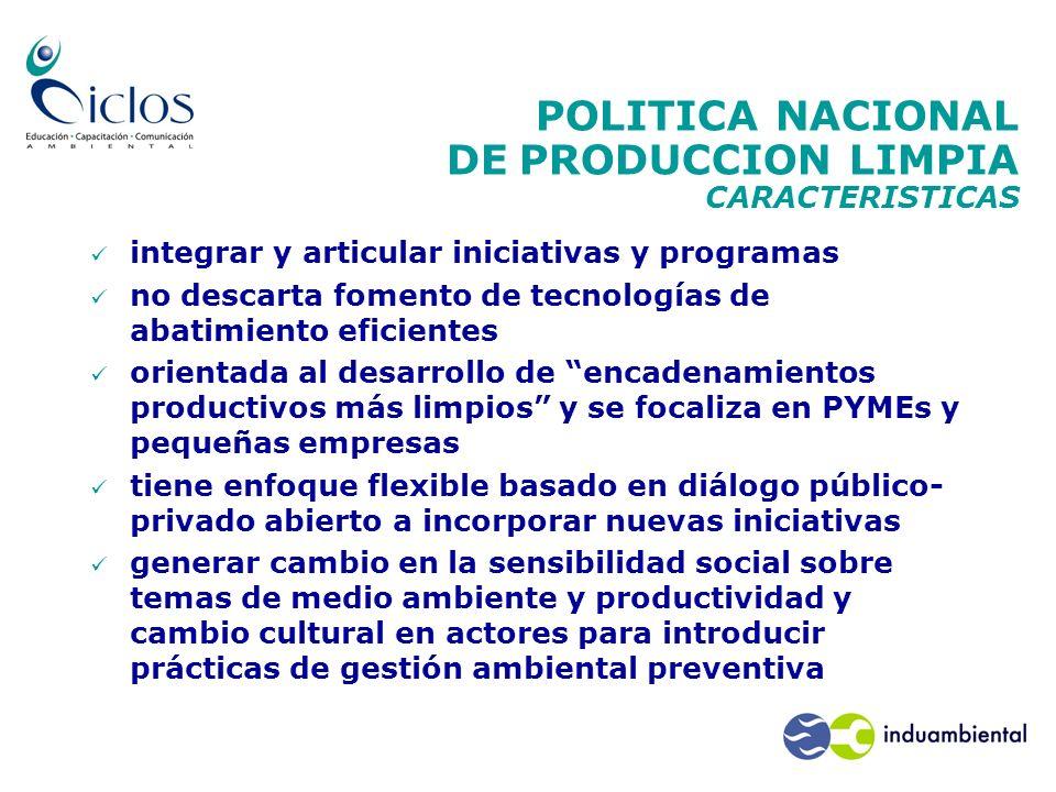 POLITICA NACIONAL DE PRODUCCION LIMPIA CARACTERISTICAS
