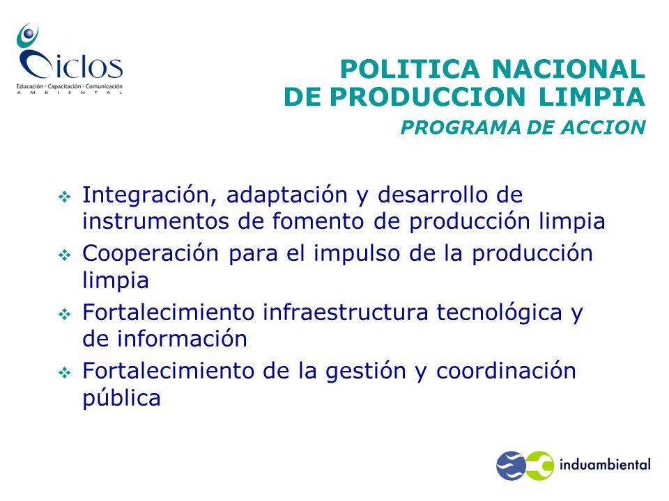 POLITICA NACIONAL DE PRODUCCION LIMPIA PROGRAMA DE ACCION