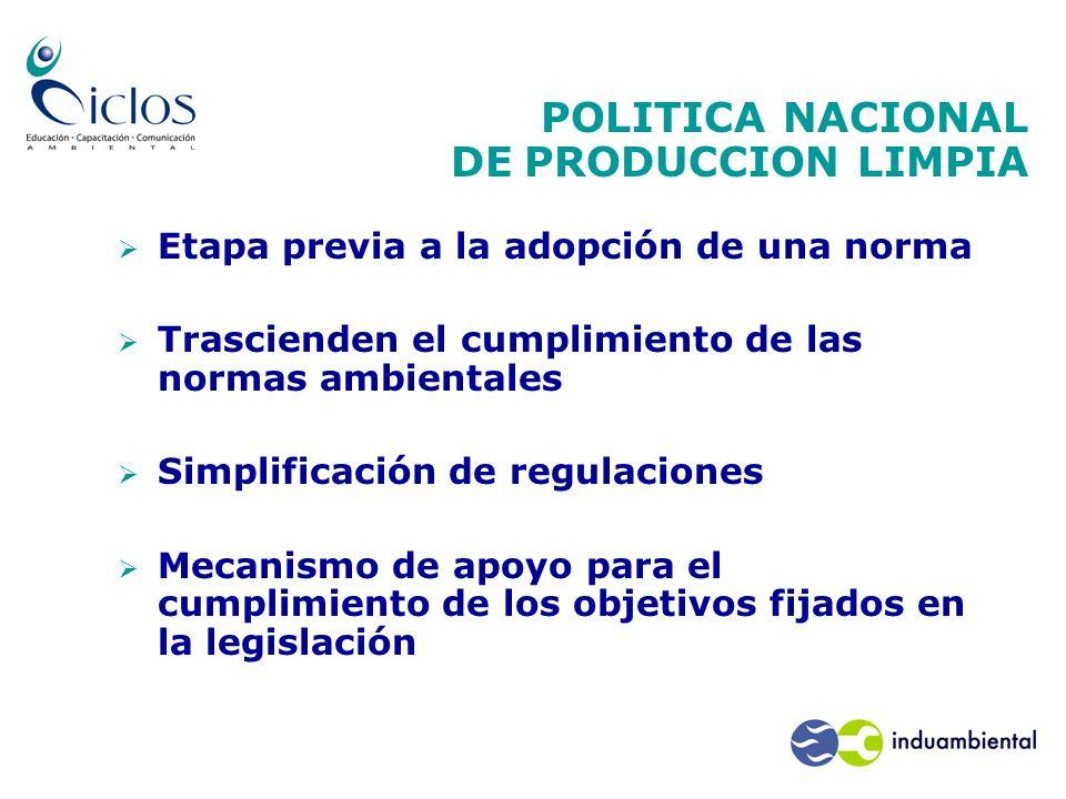 POLITICA NACIONAL DE PRODUCCION LIMPIA