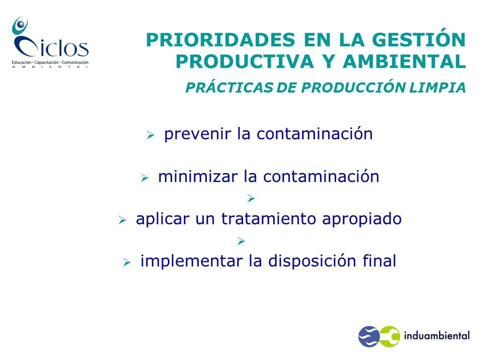 PRIORIDADES EN LA GESTIÓN PRODUCTIVA Y AMBIENTAL PRÁCTICAS DE PRODUCCIÓN LIMPIA