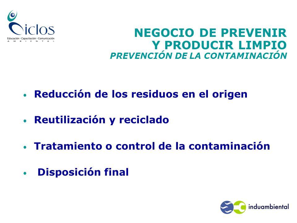 NEGOCIO DE PREVENIR Y PRODUCIR LIMPIO PREVENCIÓN DE LA CONTAMINACIÓN