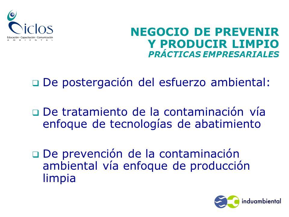 NEGOCIO DE PREVENIR Y PRODUCIR LIMPIO PRÁCTICAS EMPRESARIALES