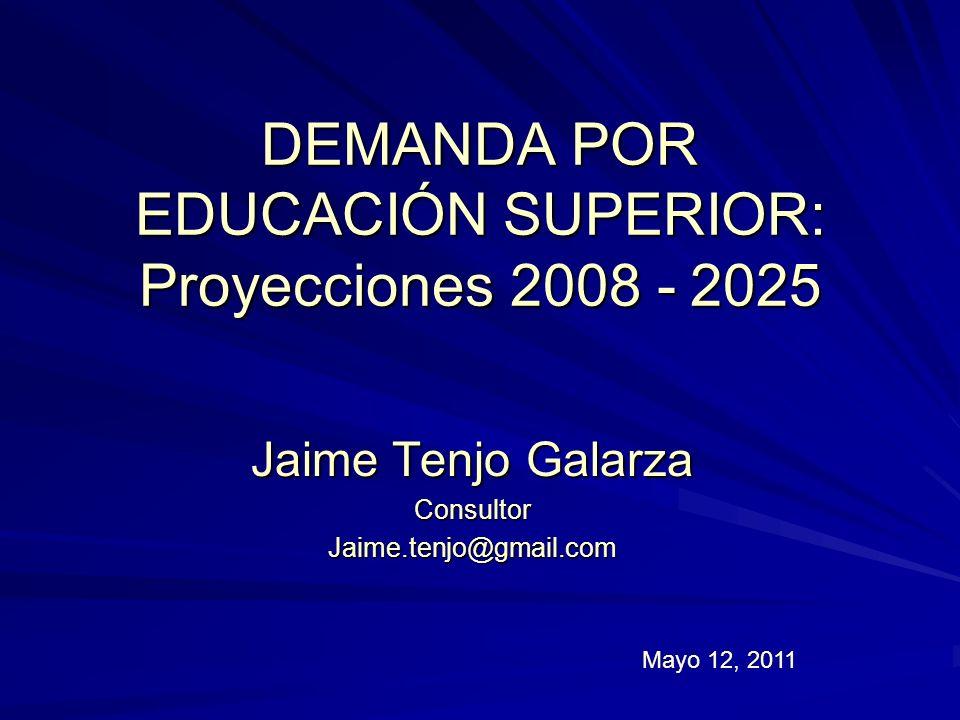 DEMANDA POR EDUCACIÓN SUPERIOR: Proyecciones 2008 - 2025