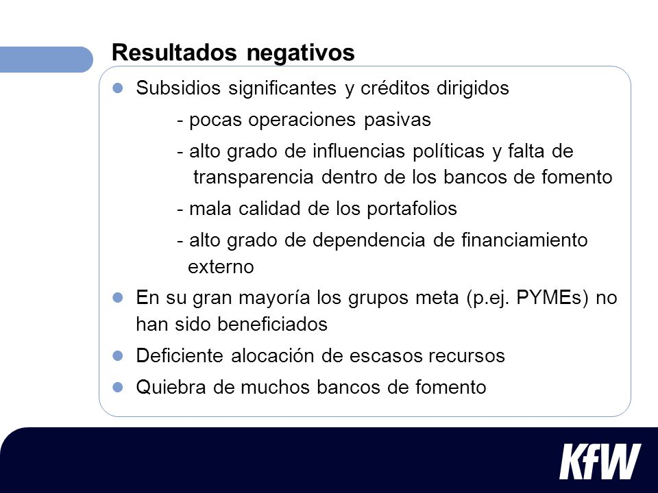 Resultados negativos Subsidios significantes y créditos dirigidos