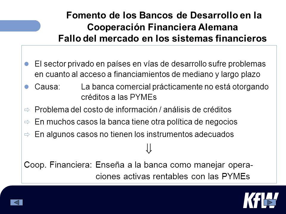 Fomento de los Bancos de Desarrollo en la Cooperación Financiera Alemana Fallo del mercado en los sistemas financieros