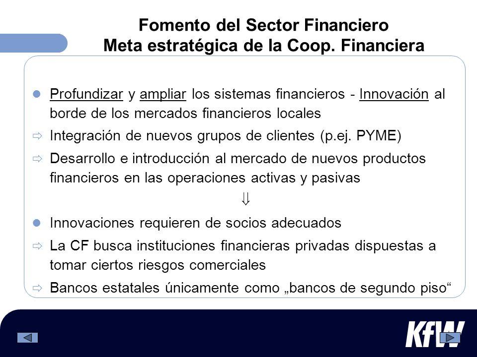 Fomento del Sector Financiero Meta estratégica de la Coop. Financiera