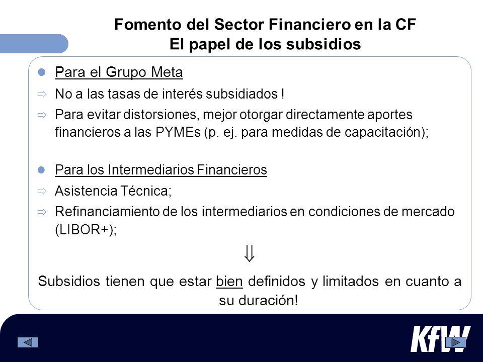 Fomento del Sector Financiero en la CF El papel de los subsidios