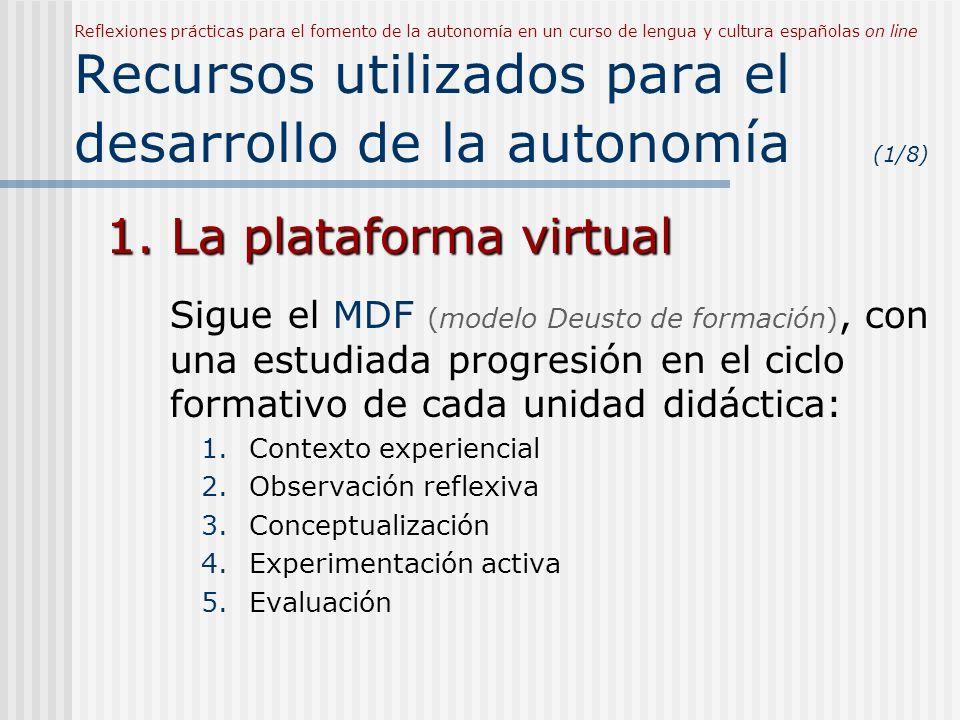Reflexiones prácticas para el fomento de la autonomía en un curso de lengua y cultura españolas on line Recursos utilizados para el desarrollo de la autonomía (1/8)