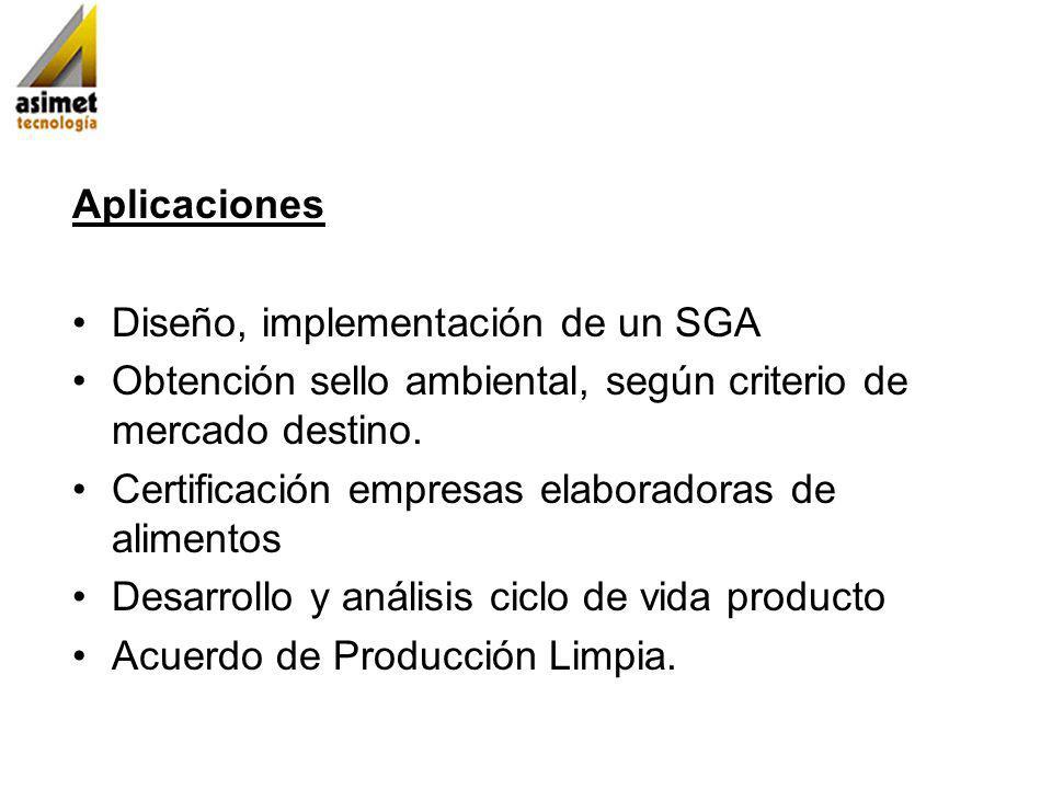 Aplicaciones Diseño, implementación de un SGA. Obtención sello ambiental, según criterio de mercado destino.