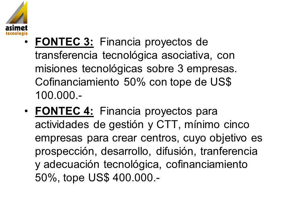 FONTEC 3: Financia proyectos de transferencia tecnológica asociativa, con misiones tecnológicas sobre 3 empresas. Cofinanciamiento 50% con tope de US$ 100.000.-