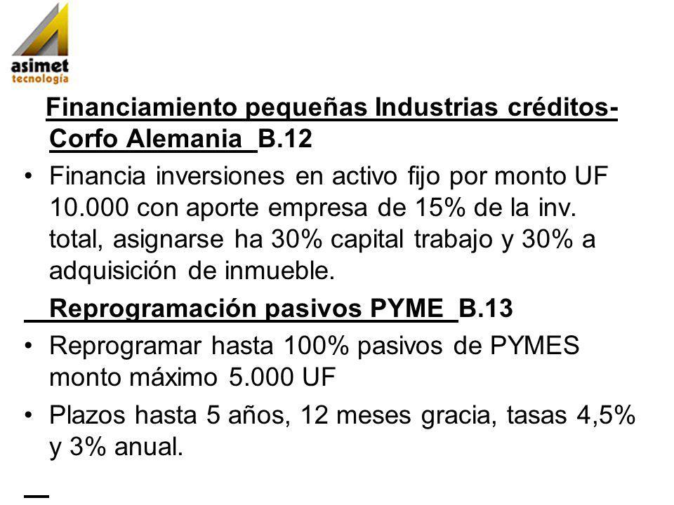 Financiamiento pequeñas Industrias créditos-Corfo Alemania B.12