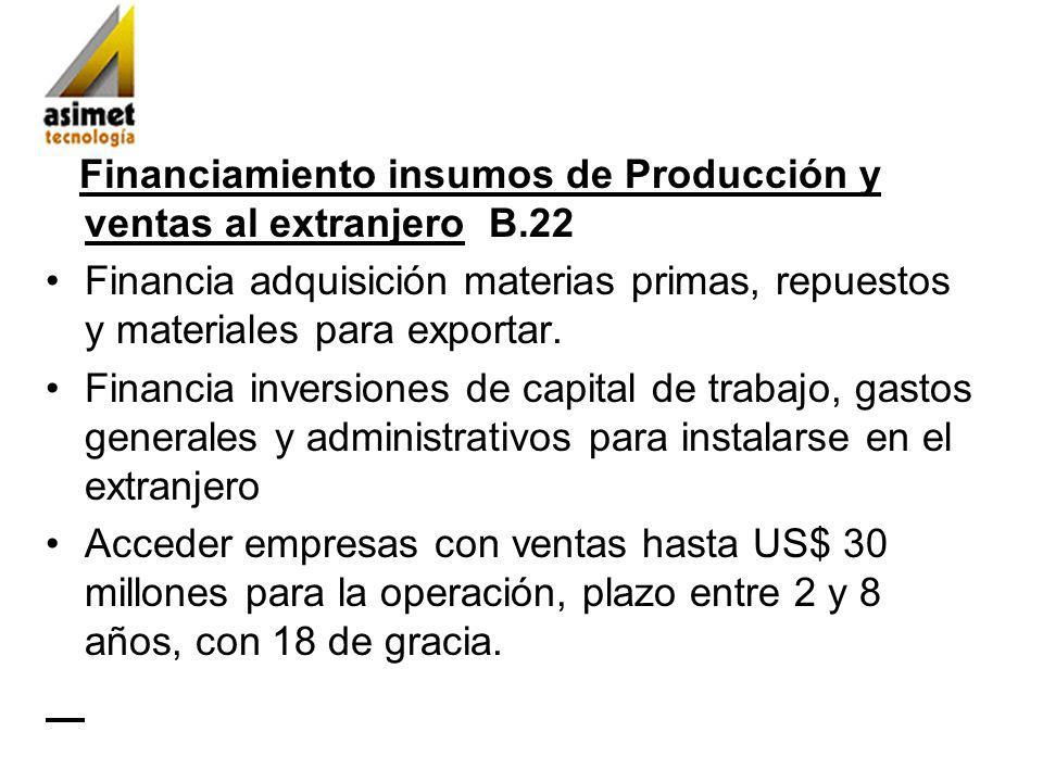 Financiamiento insumos de Producción y ventas al extranjero B.22