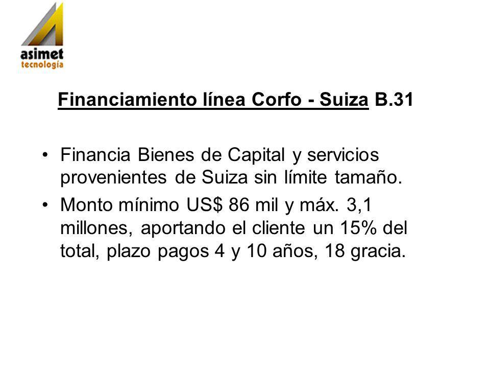 Financiamiento línea Corfo - Suiza B.31